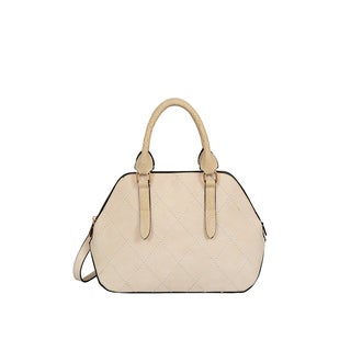 Mellow World Adele Beige Faux Leather Medium Satchel Handbag