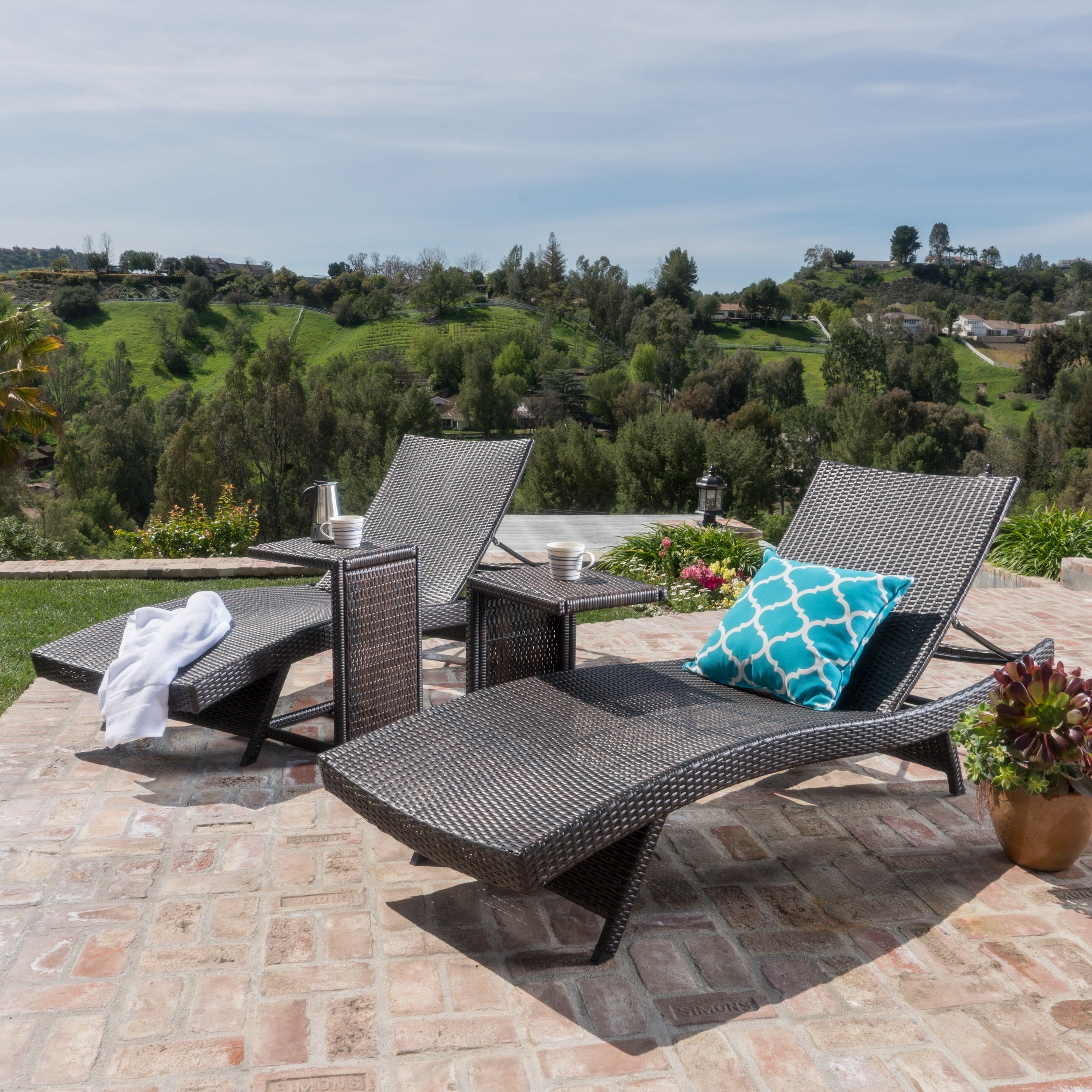 Toscana Outdoor Wicker Adjustable Chaise Lounge with C-sh...