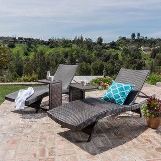 Toscana Outdoor Wicker Adjustable Chaise Lounge w/ C-shaped Wicker Table (Se by Christopher Knight Home