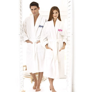 Hubby and Wifey Embroidered White Shawl Collar Robe