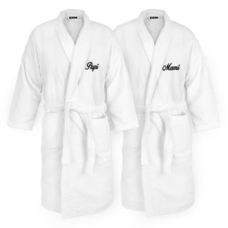 Papi and Mami Embroidered White Sugarcube Robe