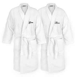 Bride and Groom Embroidered White Sugarcube Robe