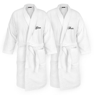 Bride and Groom Embroidered White Sugarcube Robe (2 options available)