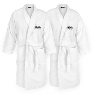 Hubby and Wifey Embroidered White Sugarcube Robe