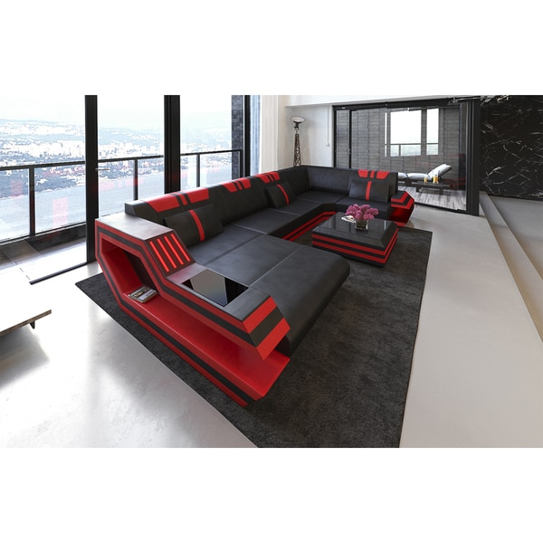 Shop Sectional Sofa \'Hollywood\' with LED Lights and USB - Free ...