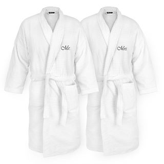 Mr and Mrs Embroidered White Sugarcube Robe