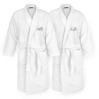 King and Queen Embroidered White Sugarcube Robe