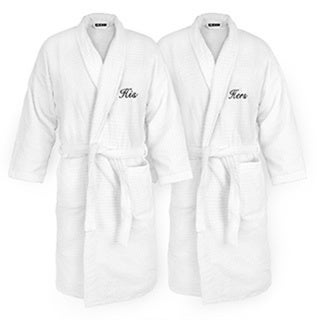 His and Hers Embroidered White Sugarcube Robe