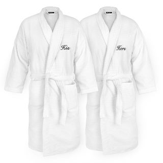 Embroidered White Sugarcube Robe with His or Hers Options