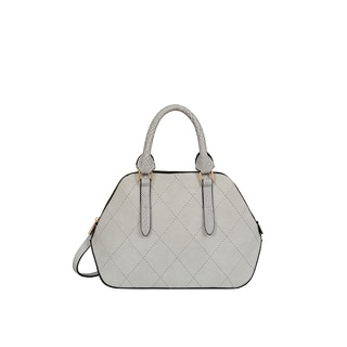 Mellow World Adele Medium Grey Faux Leather Quilted Satchel Handbag
