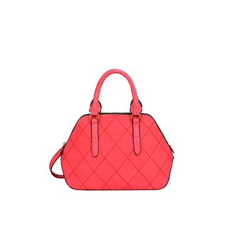 Mellow World Adele Red Faux-leather Quilted Satchel Handbag