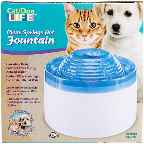 Penn Plax Clear Springs Blue/Black Plastic Pet Water Fountain