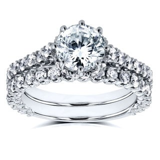 Annello by Kobelli 14k White Gold 2 1/10ct TDW Round Brilliant Diamond 8-Prong Center Standing Halo Bridal Set (H-I, I1-I2)