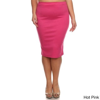 MOA Collection Plus Size Solid Pencil Skirt (More options available)