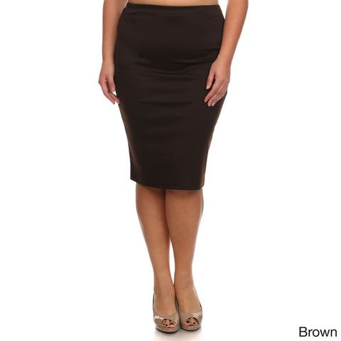 MOA Collection Plus Size Solid Pencil Skirt