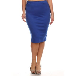 MOA Collection Plus Size Solid Pencil Skirt (Option: Xl)