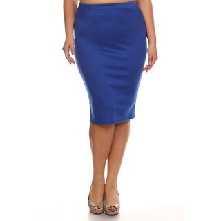 MOA Collection Plus Size Solid Pencil Skirt (Option: White)