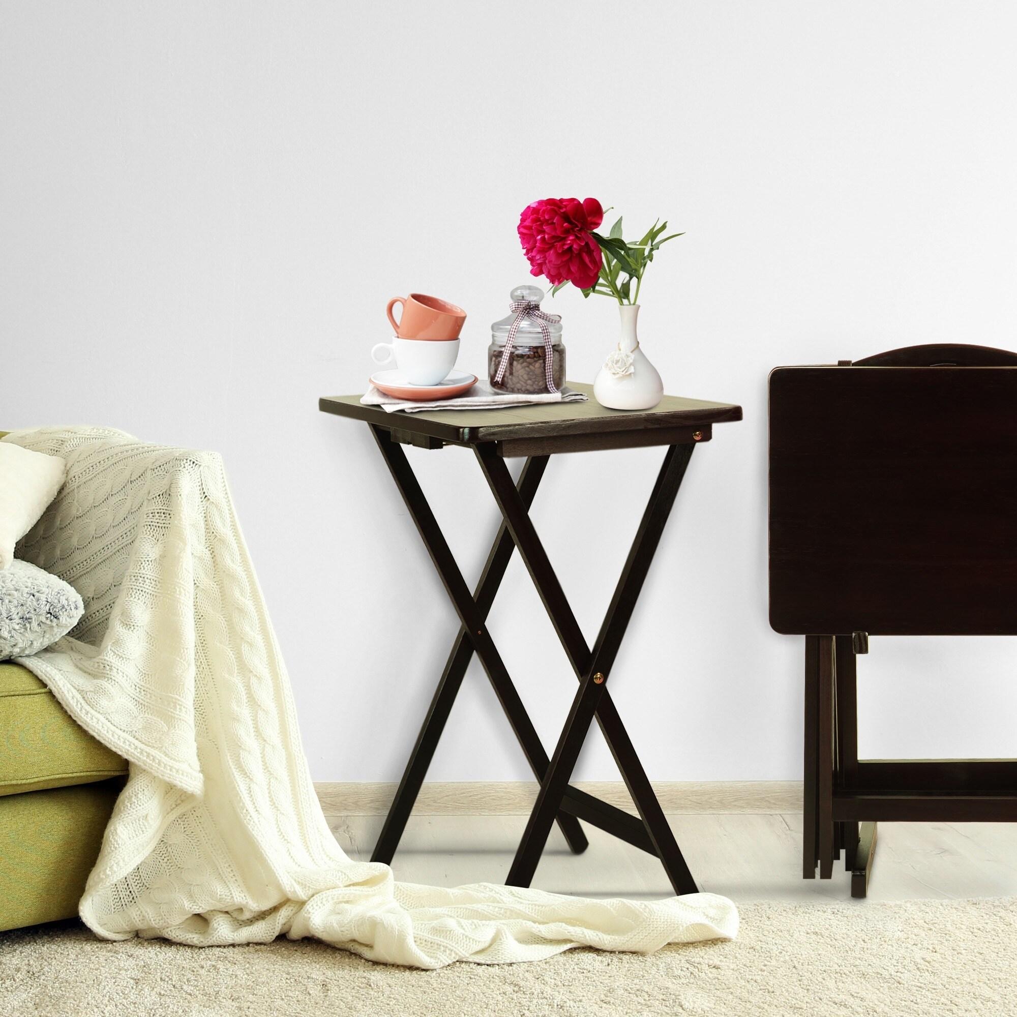 Solid Wood 5-piece Tray Table Set (Espresso Finish - Espr...