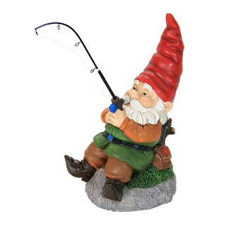 Exhart Fishing Gnome Multicolored Resin Garden Statue