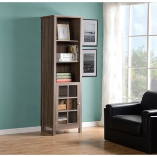 Homestar Provence Brown MDF/Glass Bookcase/Media Storage Pier