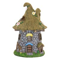 Exhart Resin Solar Stone Tower with Leaf Roof