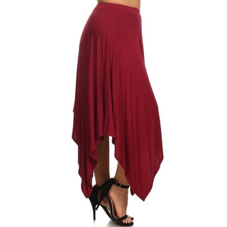MOA Collection Women's Solid Polyester/Spandex Plus-sized Draped Skirt