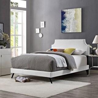 Laura  White Vinyl Platform Bed with Round Splayed Legs