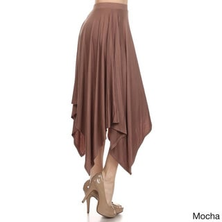MOA Collection Women's Vintage Solid-color Rayon and Spandex Skirt