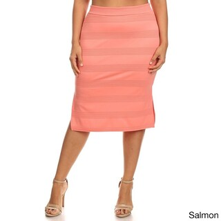 MOA Collection Plus-size Solid Color Rayon and Spandex Fitted Skirt (3 options available)
