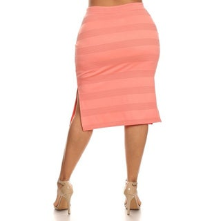 MOA Collection Plus-size Solid Color Rayon and Spandex Fitted Skirt