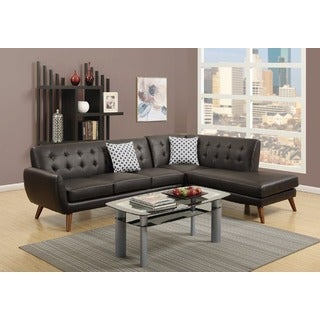 Agarak Sectional Sofa Upholstered in Espresso Bonded Leather
