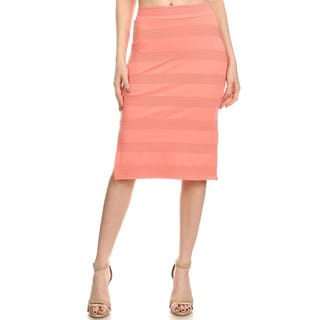 Women's Solid Polyester and Spandex Pencil Skirt