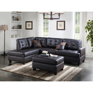 Talin Sectional Sofa Upholstered in Faux Leather