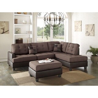Vayk Sectional Sofa Upholstered in Polyfiber & Faux Leather