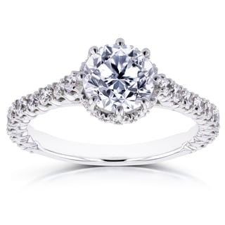 Annello by Kobelli 14k White Gold 1 3/5ct TDW Round Brilliant Diamond 8-Prong Center Standing Halo Engagement Ring (H-I, I1-I2)