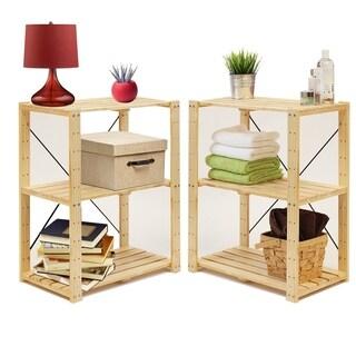 Furinno Natural Solid Pinewood 3-tier Adjustable Storage Shelves (Set of 2)