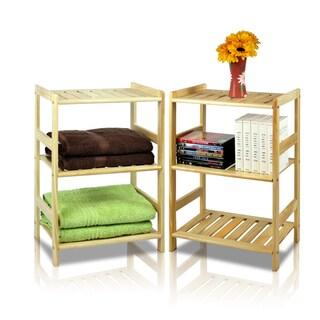 Furinno Natural-finished Beige Pine Solid Wood and MDF 3-tier Storage Shelf Set (2-piece Set)
