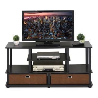 Furinno JAYA Brown MDF Large TV Stand for up to 50-Inch TV