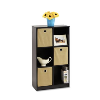 Furinno Espresso/Light Brown Economy Storage Organizer Bookcase with Bins