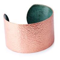 Malian Refugee Handcrafted Hammered Copper Wide Cuff Bracelet (Burkina Faso)