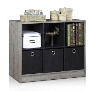 Furinno 99940 Basic MDF Storage Bookcase with Bins