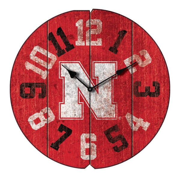 University Nebraska Round Clock