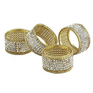 Elegance Brilliant Gold and Crystal Set of 4 Napkin Rings