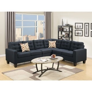 Tashir Tufted Polyfiber Upholstered Sectional Sofa (Option Blue)  sc 1 st  Overstock.com : navy sectional sofa - Sectionals, Sofas & Couches