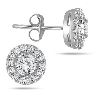 Marquee Jewels 10k White Gold 3/8ct TDW Diamond Halo Earrings (J-K, I2-I3)