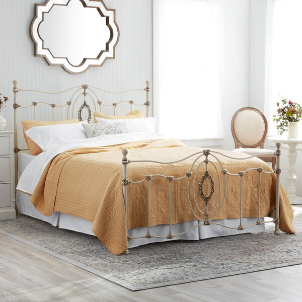 Shop Ashdyn Metal Bed With White Finish Queen Free