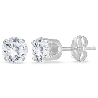 Marquee Jewels 14k White Gold 1ct TDW Round Solitaire Diamond Stud Earrings (J-K, I2-I3)