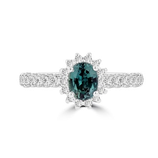 La Vita Vital 18k White Gold 3/4ct Fine Brazilian Alexandrite and 5/8ct TDW Diamond Ring
