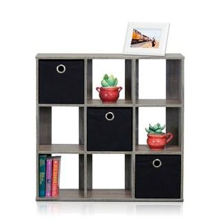 Furinno 13207 Simplistic 9-Cube Organizer with Bins