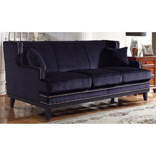 Modern Soft Velvet Sofa with Nailhead Trim Details